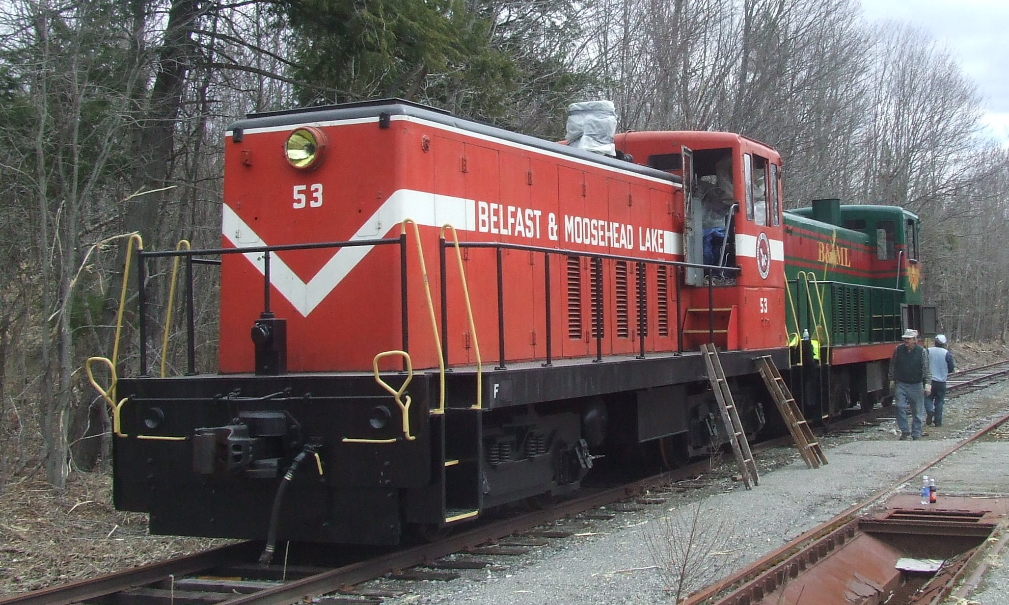 Locomotive 53 at the Grain Mill in Thorndike during the Spring of 2009